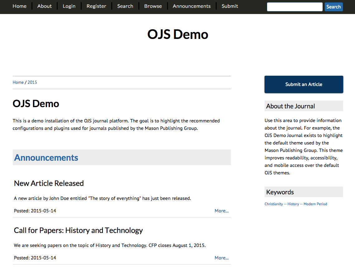 New Theme for OJS Journals