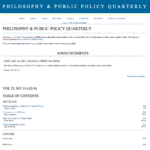 Screen shot of the Philosophy and Public Policy Quarterly Home Page