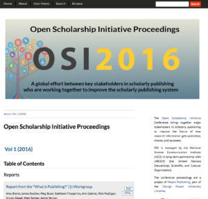Screen shot of the OSI Conference Proceedings publication