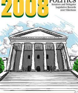 Cover for the 2008 Almanac of Virginia Politics, with a drawing of a pillared government building